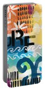 Carousel #7 Surf - Contemporary Abstract Art Portable Battery Charger by Linda Woods