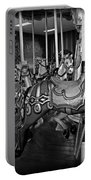 Carousel Horses In Black And White Portable Battery Charger