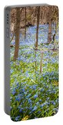 Carpet Of Blue Flowers In Spring Forest Portable Battery Charger