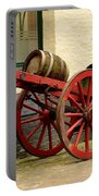 Cart Loaded With Wood Beer Barrels Portable Battery Charger