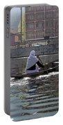 Cartoon - Light Following This Lady On A Wooden Boat On The Dal Lake In Srinagar Portable Battery Charger