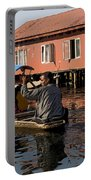 Cartoon - Man Rowing A Family In A Wooden Boat Portable Battery Charger