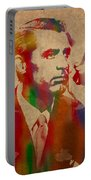 Cary Grant Watercolor Portrait On Worn Parchment Portable Battery Charger