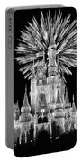 Castle With Fireworks In Black And White Walt Disney World Portable Battery Charger