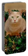 Cat And Christmas Wreath Portable Battery Charger
