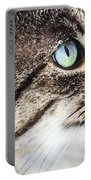 Cat Art - Looking For You Portable Battery Charger by Sharon Cummings