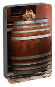 Cat Guarding A Wine Barrel In Alsace Portable Battery Charger