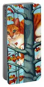 Orange Cat In Tree Autumn Fall Colors Portable Battery Charger