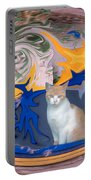 Cat In Doorway Fantasy Portable Battery Charger