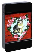 Cat In Heart Wreath 1 Portable Battery Charger