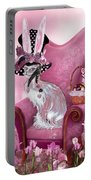 Cat In Mad Hatter Hat Portable Battery Charger by Carol Cavalaris