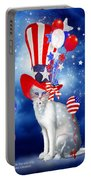 Cat In Patriotic Hat Portable Battery Charger