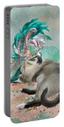 Cat In Summer Beach Hat Portable Battery Charger