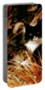 Cat In The Golden Grass Portable Battery Charger
