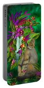 Cat In Tropical Dreams Hat Portable Battery Charger