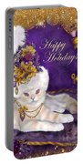 Cat In Victorian Santa Hat Portable Battery Charger