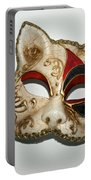 Cat Masquerade Mask On White Portable Battery Charger