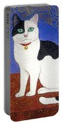 Cat On Thanksgiving Table Portable Battery Charger