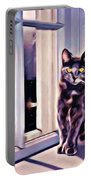 Cat On Window Sill Portable Battery Charger