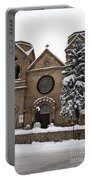Cathedral Basilica Of St Francis In Snow Portable Battery Charger