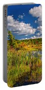 Cattails And Clouds Portable Battery Charger