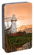 Cattails And Lighthouse In Indiana Portable Battery Charger