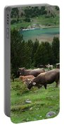 Cattle Grazing In The Pyrenees Portable Battery Charger