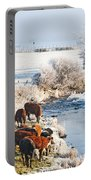 Cattle In Winter Portable Battery Charger