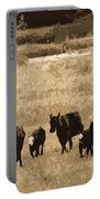 Cattle Round Up Sepia Portable Battery Charger