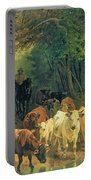 Cattle Watering In A Wooded Landscape Portable Battery Charger