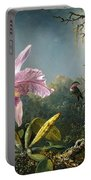 Cattleya Orchid And Three Brazilian Hummingbirds Portable Battery Charger