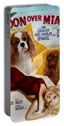 Cavalier King Charles Spaniel Art - Moon Over Miami Movie Poster Portable Battery Charger