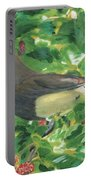 Cedar Waxwing Eating Mulberry Portable Battery Charger