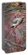 Cedar Waxwing Feeding Portable Battery Charger