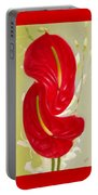 Celebration - Red Anthurium And White Orchids  Portable Battery Charger