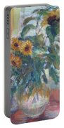 Sale - Sunflowers In Window Light - Original Impressionist - Large Oil Painting Portable Battery Charger