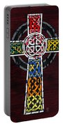 Celtic Cross License Plate Art Recycled Mosaic On Wood Board Portable Battery Charger