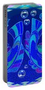 Celtic Fish On Blue And Lavender Portable Battery Charger