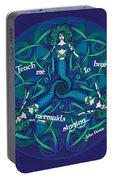 Celtic Mermaid Mandala In Blue And Green Portable Battery Charger