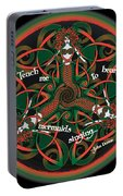 Celtic Mermaid Mandala In Orange And Green Portable Battery Charger