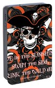 Celtic Spiral Pirate In Orange And Black Portable Battery Charger