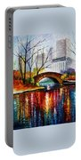 Central Park - Palette Knife Oil Painting On Canvas By Leonid Afremov Portable Battery Charger