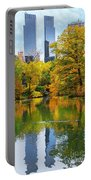 Central Park Pond Autumn Reflections Portable Battery Charger