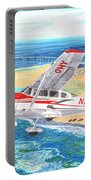 Cessna 206 Flying Over The Outer Banks Portable Battery Charger