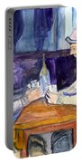 Cezannes The Card Players In Watercolor Portable Battery Charger
