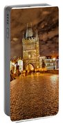 Charles Bridge At Night Portable Battery Charger