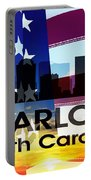Charlotte Nc Patriotic Large Cityscape Portable Battery Charger