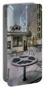 Charlotte Queen City Skyline Near Romare Bearden Park In Winter Snow Portable Battery Charger