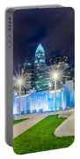 Charlotte Skyline Behind Romare Bearden Park Portable Battery Charger
