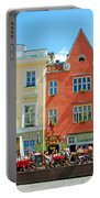 Charming Town Square In Old Town Tallinn-estonia Portable Battery Charger